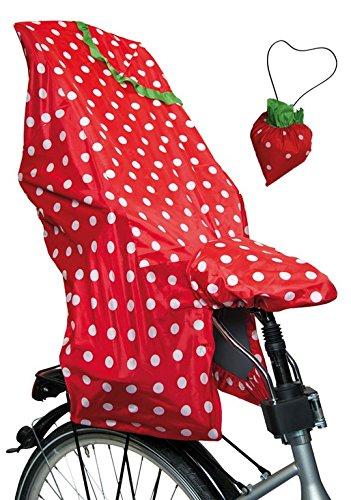 Lunari Kinder Fahrradkindersitz Regenschutz Lucky Cape Quick 2-in-1 Berry, Rot/Weiß, One Size