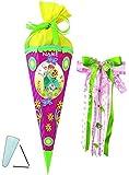 Unbekannt BASTELSET Schultüte -  Disney die Eiskönigin - Frozen  - 85 cm - incl. großer Schleife + Name - mit / ohne Kunststoff Spitze - Zuckertüte - Set zum selber B..