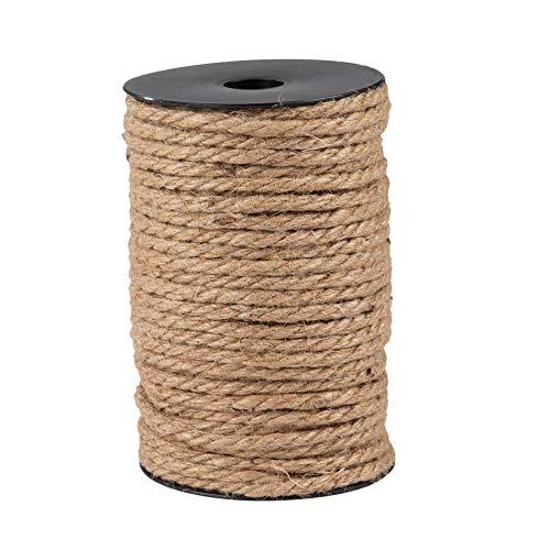Juteseil aus 100% natürlichem, dickem Jute-Seil, 5 mm, 3-lagig, 100% natürlich, für Bastelarbeiten und Bastelarbeiten, Weihnachtsgeschenkverpackung, Bündelung - Braun -
