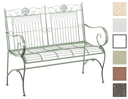 CLP Metall Gartenbank PURUSHA, 2-Sitzer, Landhaus-Stil, Eisen lackiert, Design nostalgisch Antik Grün