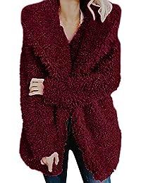 CLOOM Damen Mantel Rosa Warmer künstlicher Wollmantel Teddy-Fleece Jacke Sweatshirts Jacke Revers Wintermantel Damen Pullover Hoodie Oversized Elegant Softshell Jacke Outwear Pelzmantel