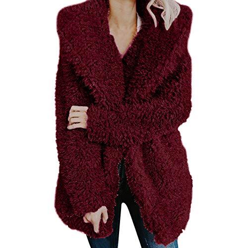 TianWlio Mäntel Frauen Weihnachten Damen Mantel Langarm Strickjacke Jacke Outwear Herbst Winter Warmer Künstlicher Wollmantel Jacke Revers Winter Oberbekleidung