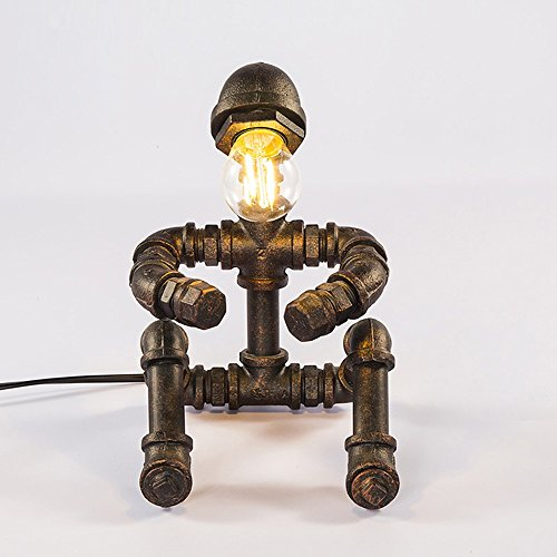 Industrielle Vintage Schmiedeeisen Tischlampe Kreative Wasserpfeife Roboter Schreibtischlampe Augenschutz Leselampe für das Bett und Bar und Café, D16cm H25cm