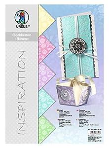 Ursus 60404699 - Papel de calco de Rosas, 5 Hojas, 220 g/m², DIN A4, 5 Colores Pastel, teñido, con Flocado Blanco, Color Pastel