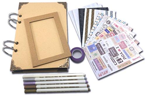 Scrapbook album fotografico fai da te per personalizzare 80 pagine nere a5 e accessori per scrapbooking (pennarelli colorati, angoli, adesivi, nastro). regalo speciale per i tuoi ricordi con amici o familiari.