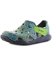 ea07f83060ce Crocs Kids Swiftwater Wave Graphic Kids Navy Clogs Sandals Size c10