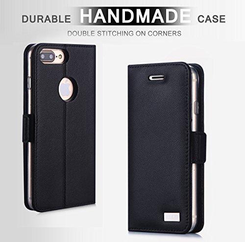 iPhone 8 Plus Hülle , iPhone 7 Plus Hülle, Fyy® [RFID Blockierender Geldbeutel] [Echtes Leder] 100% handgenähter Geldbeutel mit Kartenhaltern für iPhone 8/7 Plus ,Gold 1AA-Schwarz