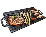 homiu Gusseisen Grillplatte wendbar, mit Griffen für einfaches Transportieren, Verwenden auf beiden Herd und Grill für einfache und schnelle Kochen