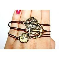 ⚓ Antike Welt-Karte ⚓ Wachsarmband braun/bronze, 16-17cm, Anker und Kompass Armband handmade