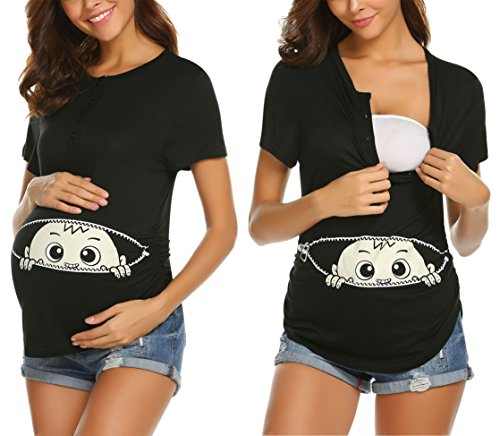 MAXMODA Frauen-beiläufige O-Ansatz-Kurze Hülsen-Druck-nettes schwangeres Nachtwäsche-T-Shirt