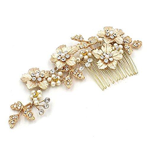 Braut Kopfschmuck Blume Blatt Alu Spange Kamm Haare kämmen mit Schmuckschatulle , gold (Halloween-displays Bis 2017)