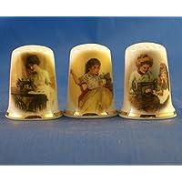 Porcelana China colección de dedales conjunto de tres Vintage costura señoras