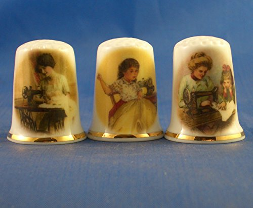 Porcelana China colección de dedales conjunto de tres Vintage costura