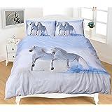 3D estampado animal ropa de cama juegos de caballo polialgodón colcha juego funda edredón contempo diseño - Double