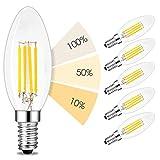 linovum® fourSTEP Dim E14 LED 6er Pack Kerze Filament - 'Dimmbar ohne Dimmer' mit jedem Lichtschalter 4W 400lm 230V warmweiß