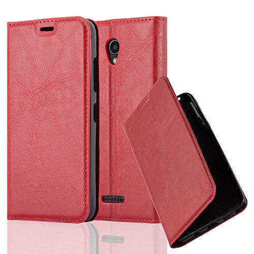 Cadorabo Hülle für Lenovo B - Hülle in Apfel ROT – Handyhülle mit Magnetverschluss, Standfunktion und Kartenfach - Case Cover Schutzhülle Etui Tasche Book Klapp Style