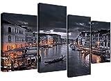 Wallfillers 4229 Ensemble de 4 toiles représentant le Grand Canal de Venise -130 cm de large - Noir/Blanc