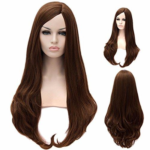 Femmes Europe Droites Longues Perruques Frisées Ondulées Naturelles Résistant À La Chaleur Perruques De Cheveux Pleins