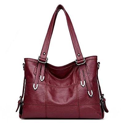 Les femmes Patchwork sac bandoulière en cuir PU noir Sac à main femme Vintage Grand sac bandoulière Bagtote Couture