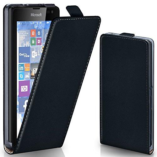 moex Microsoft Lumia 532 | Hülle Schwarz 360° Klapp-Hülle Etui Thin Handytasche Dünn Handyhülle für Nokia Lumia 532 Case Flip Cover Schutzhülle Kunst-Leder Tasche