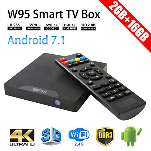 Sawpy W95 Android TV Box Android 7.1 Smart TV Box 64bit Quad Core CPU 2GB +16GB 4K UHD WiFi & LAN VP9 DLNA H.265 (Quad-core-tv-box Android)