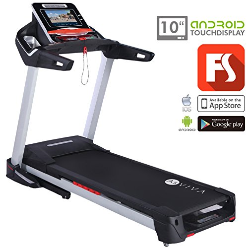 AsVIVA T15 Laufband App-Bluetooth & Wi-Fi kompatibel ein Heimtrainer Fitnessgerät mit 10″ Touchscreen Android-Tablet & Fitness-App – 4PS Motor – Handpulsmessung, Tablet & Smartphone