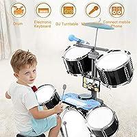 GODNECE Drum Kits for Children, 2 In 1 Kids Jazz Drum Set with Electronic Keyboard Kids Drum Set Age 3