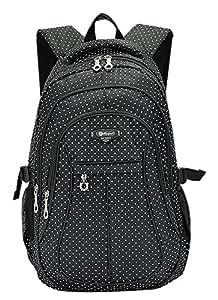 SellerFun® Kid Child Girl Multipurpose Dot Backpack School Bag(Black,Large)