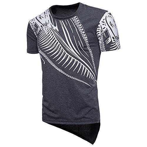 T-Shirt Herren Kurzarm Rundkragen 3D gedruckt Sommer Herren Persönlichkeit Tops,Herren T-Shirt mit Drachendruck Dunkelgrau M