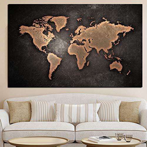 WSNDGWS Abstrakte 3D Weltkarte Leinwand Malerei Klassische Schwarze Weltkarte Druck Auf Leinwand für Büroraum Bild Wandkunst Cuadros Decor