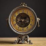 Jack Mall Reloj retro europeo reloj de la sala de estar de moda creativa reloj mute antiguo reloj clásico de América ( Color : Bronce verde )