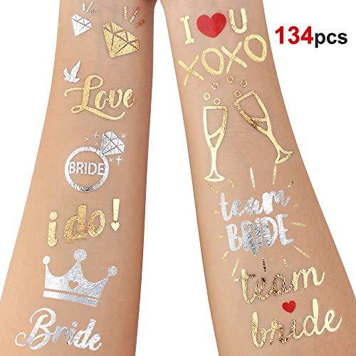 Howaf 134 pezzi addio al nubilato amiche sposa tatuaggi, team bride tatuaggi temporanei tattoo adesivi per addio al nubilato gadget, matrimonio, hen feste notte, doccia nuziale