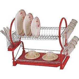 Geschirrhalterung / Geschirrtrockner, hochwertig, 2 Ebenen, Edelstahl / Chrom, Rot