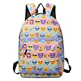 Sac à dos EMOJI, Gracosy Impémeable Super léger 35L Design Smiley Kawaii Backpack Cartable pour École Fille Garçon