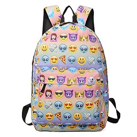 Sac à dos EMOJI, Gracosy Impémeable Super léger 35L Design Smiley Kawaii Backpack Cartable pour École Fille Garçon