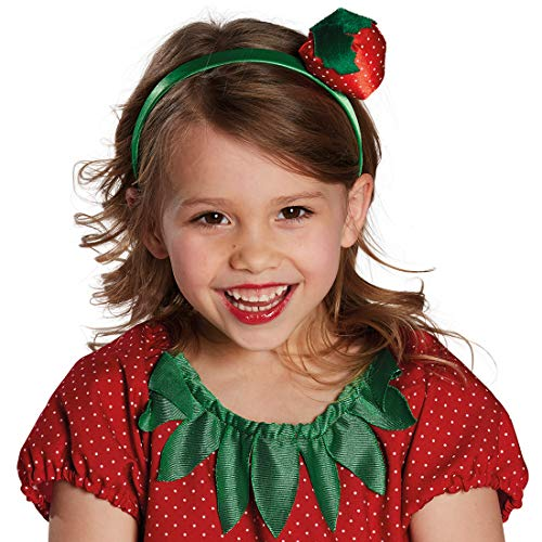 Amakando Bezaubernder Damen-Haarreif mit Erdbeere / Rot-Grün / Sommer-Haarschmuck Rockabilly-Style / Genau richtig zu Fasching & Karneval (Freche Fee Kostüm)