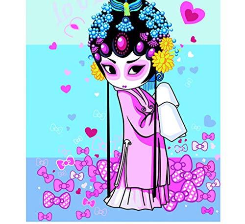 YUUWO Malen Nach Zahlen Ab 8 Jahre MädchenChinesische Figur Peking Oper Gesicht Wandkunst Bilder Moderne Ölgemälde Durch Zahlen Wohnkultur Für Wohnzimmer Schlafzimmer Rahmenlos 40x50cm (Gesicht Minion Malen)