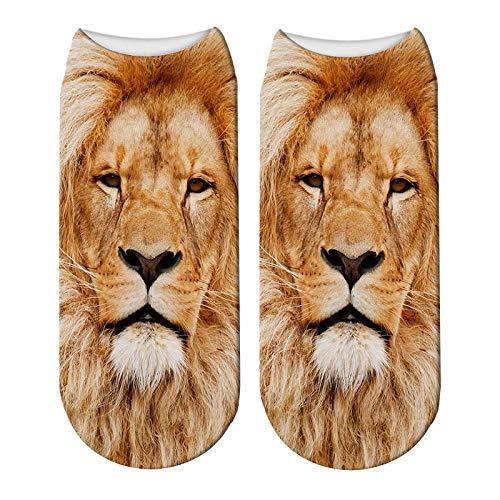 Stretch-söckchen (NANAYOUPIN Bequeme Baumwoll Socken (5 Paare) Schöne Lion Cartoon 3D Druck Socken Frau Lustige Tier Kawaii Stretch Söckchen Lion Girl Socken5)