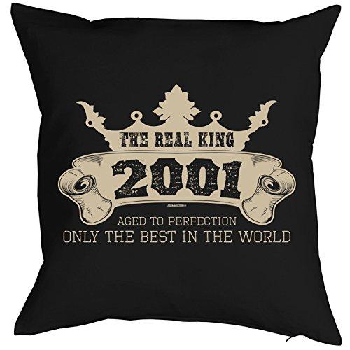 Mega-Shirt zum 18. Geburtstag Geschenkidee Kissen mit Füllung The Real King 2001 Polster zum 18. Geburtstag für 18-jähirge Dekokissen