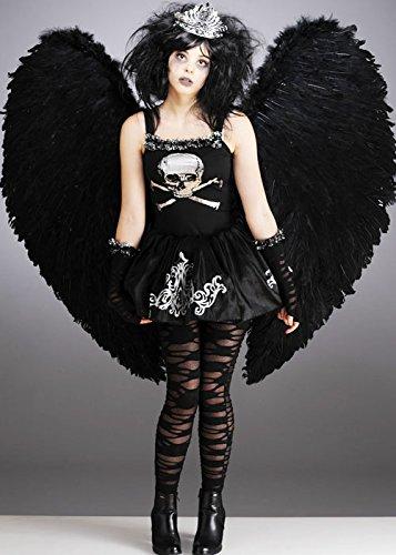 Teen Gothic Fallen Dark Angel Kostüm mit Flügeln -