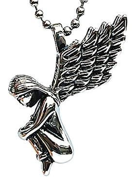 Epinki Herren Halskette, Edelstahl Herrenhalskette Anhänger Engel Flügel Silber Schwarz 4.4*3.4cm Kettenanhänger...