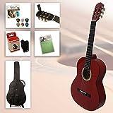 Set chitarra principianti Starter di Fun 1/2Rosso–1/2Rosso chitarra da concerto con accessori, Custodia per chitarra, Accordatore Clip, corde di ricambio, 6Plettri, Panno