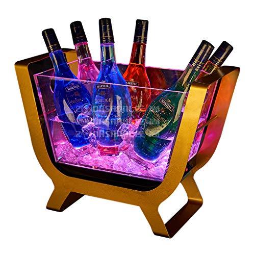 Eiskübel Farben ändern LED Kühler Eimer Große Kapazitäts-Champagner Wein Getränke Bier-Wanne for KTV Party Bar Startseite Hochzeit SYHZHY (Size : Small) - Kunststoff-wein-gläser Rot Farbe