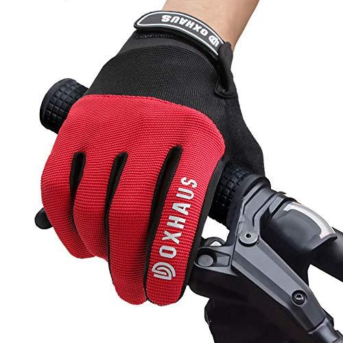 DOXHAUS Fahrradhandschuhe Atmungsaktive rutschfeste und Stoßdämpfende Mountainbike Handschuhe, Herren Damen Touchscreen Lange Fingerhandschuhe fürs Mountainbike, Rennrad, Wandern M