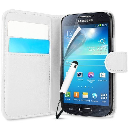Supergets ® Premium Flip Geldbörse Tasche Schutzhülle Für Samsung Galaxy S4 Mini I9190 Einschließlich Displayschutzfolie, Touch Screen Stylus Und Polieren Tuch - LOVE WEIßE GELDBÖRSE -