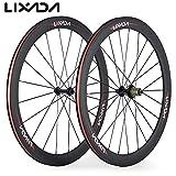 Lixada Wheels Laufrad Carbon Rad Drahtreifen 50mm 700C 3K 23mm Breite Straße Fahrrad Laufradsatz 8/9/10/11 Kompatibel Geschwindigkeiten 20/24 Löcher