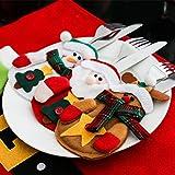 Besteckhalter Weihnachten Hirolan Weihnachtliche Tischdeko 3 Stück Weihnachten Weihnachten Dekor Sankt Küche Geschirr Halter Schneemann Tasche Abendessen Besteck Tasche (Rot) - 4