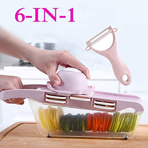 WYBD.Y Cocina Mandoline Slicer Cutter Chopper y Rallador Vegetable Dicer 6-en-1 Julienne Spiralizer...