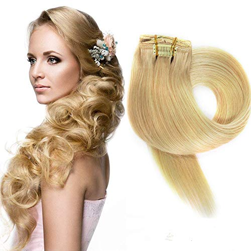 Myfashionhair Clip in Haarverlängerungen Echthaar Verlängerungen 70g 7 Stück Silky Straight Weft Remy Haar (18 Zoll/45 CM, 24 Honig Blonden)