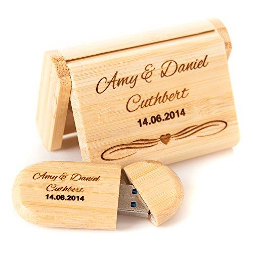 Gravur personalisierbar USB Flash Drive Stick 16GB Bambus Holz, jeden Anlass, Hochzeit, Geburt Weihnachten Urlaub Aufbewahrung Dongle Fotos Andenken und Geschenk